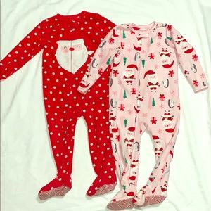 Christmas Santa Girls footie pajamas 2t